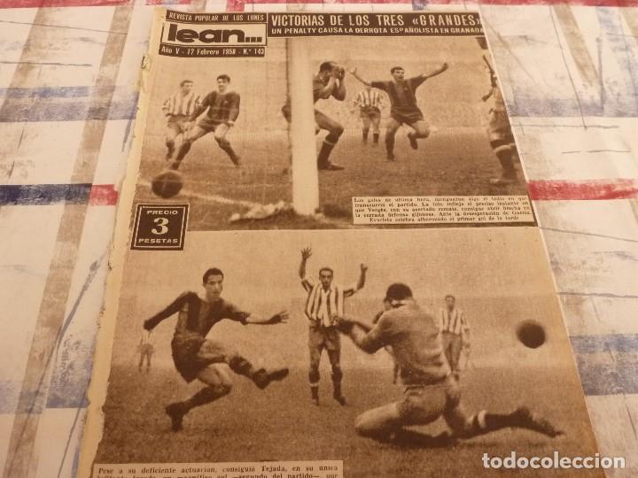 (ML)LEAN(17-2-58)BARÇA 3 GIJÓN 0,SANCHEZ Y TEJADA,CZIBOR,BULGARIA 51 ESPAÑA 39 EN MONTJUICH (Coleccionismo Deportivo - Revistas y Periódicos - otros Fútbol)