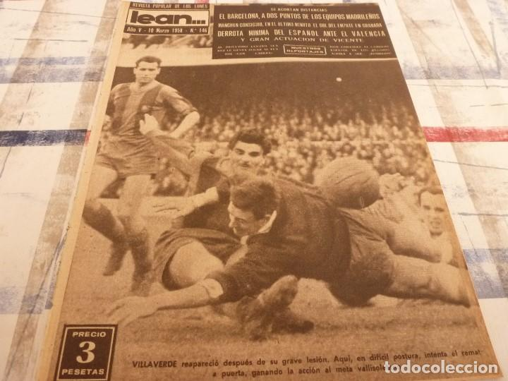 (ML)LEAN(10-3-58)VALENCIA 2 ESPAÑOL 1,BARÇA 7 VALLADOLID 1,LUIS SUAREZ,BADENES Y RICARDO. (Coleccionismo Deportivo - Revistas y Periódicos - otros Fútbol)