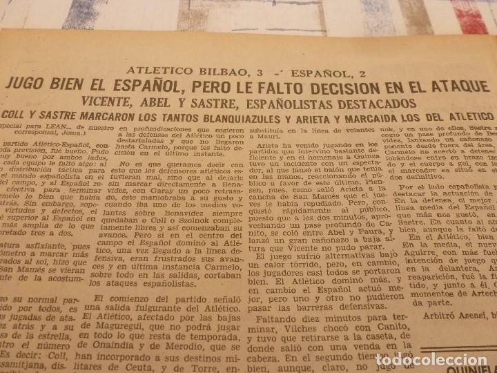 Coleccionismo deportivo: (ML)LEAN(5-5-58)BILBAO 3 ESPAÑOL 2,BARÇA 4 GRANADA 1,BASORA Y COQUE,XXIII VUELTA CICLISTA BARCELONA - Foto 2 - 109519379