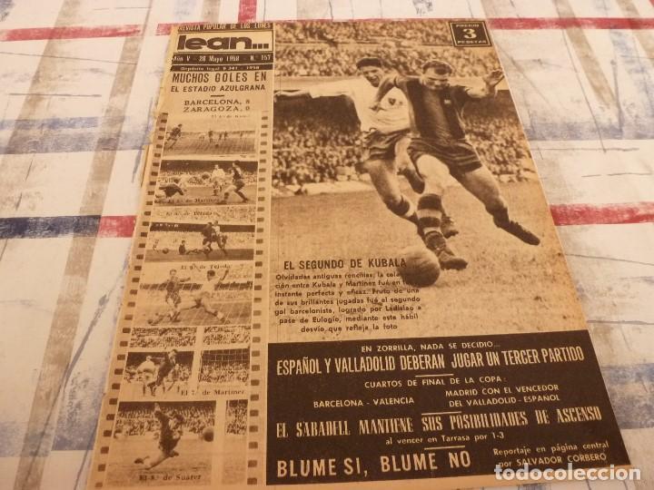 (ML)LEAN(26-5-58)BARÇA 8 ZARAGOZA 0,LUIS SUAREZ Y LASHERAS,VALLADOLID 2 ESPAÑOL 2,DAUCIK,LUIS PUIG. (Coleccionismo Deportivo - Revistas y Periódicos - otros Fútbol)