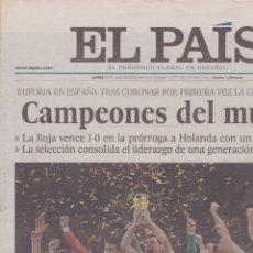 Coleccionismo deportivo: EL PAÍS: ESPAÑA CAMPEONA DEL MUNDO DE FÚTBOL 2010. SUDÁFRICA. Lote 110136743