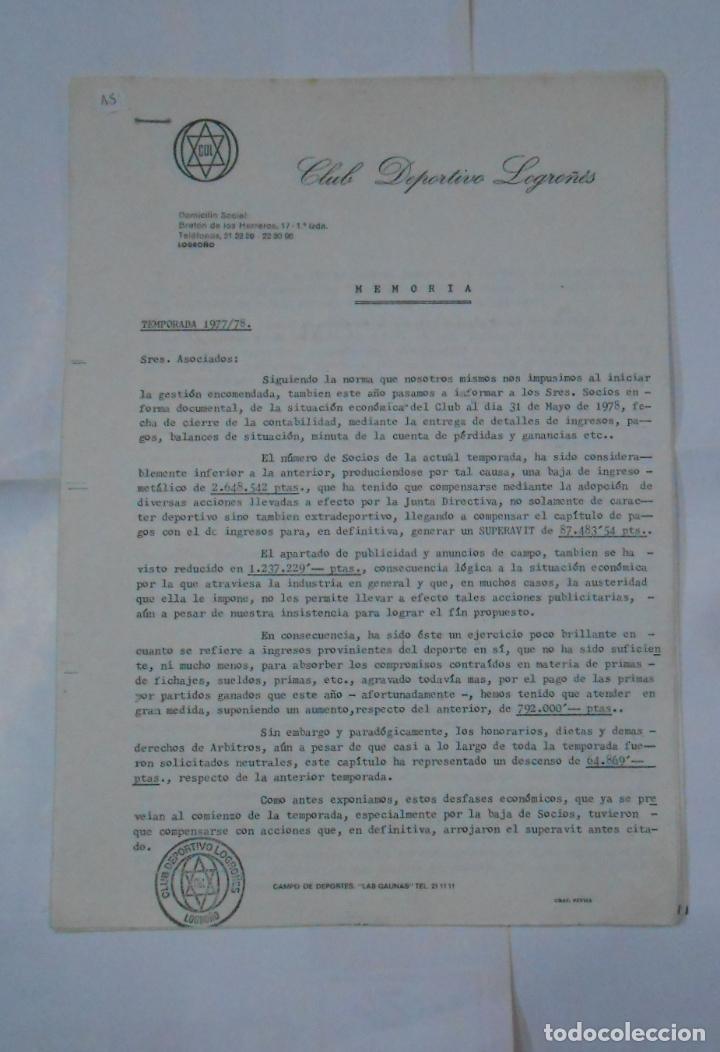 MEMORIA DE ASAMBLEA DE SOCIOS DEL CLUB DEPORTIVO LOGROÑES. TEMPORADA 1977/78. TDKR38 (Coleccionismo Deportivo - Revistas y Periódicos - otros Fútbol)