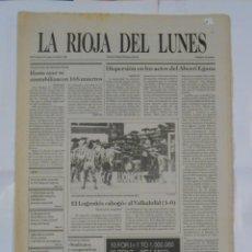 Coleccionismo deportivo: LA RIOJA DEL LUNES. Nº 33. 4 DE ABRIL DE 1988. EL LOGROÑES AHOGO AL VALLADOLID. TDKPR2. Lote 113893343