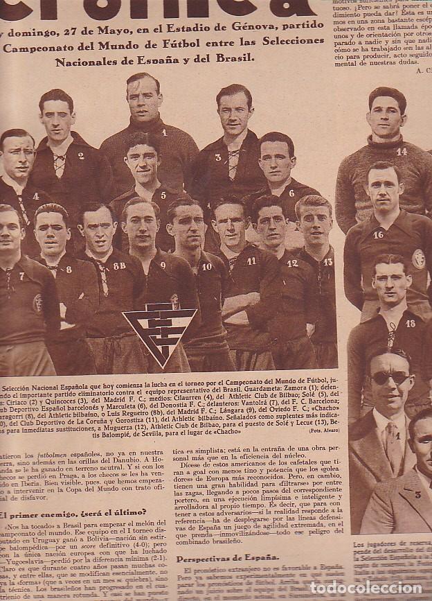 REVISTA CRONICA 27 MAYO 1934 SELECCION ESPAÑOLA (Coleccionismo Deportivo - Revistas y Periódicos - otros Fútbol)