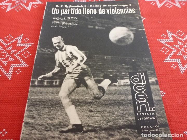 DICEN(1963)EN SARRIÁ ESPAÑOL 2 RACING ESTRASBURGO 2.CON PIRIS GUARDAMETA DEL ESPAÑOL. (Coleccionismo Deportivo - Revistas y Periódicos - otros Fútbol)