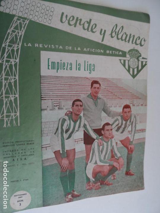Coleccionismo deportivo: REVISTA VERDE Y BLANCO LA REVISTA DE LA AFICION BETICA REAL BETIS AÑOS 60 - Nº 1 AL 26 - Foto 2 - 114980175