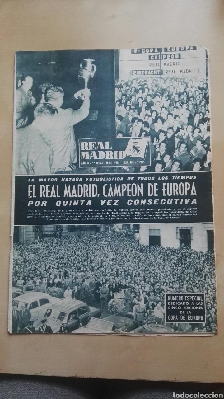 REVISTA OFICIAL REAL MADRID, JUNIO 1960, N°120, PORTADA EL REAL MADRID CAMPEÓN DE EUROPA POR QUINTA (Coleccionismo Deportivo - Revistas y Periódicos - otros Fútbol)