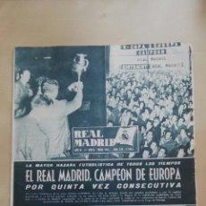 Coleccionismo deportivo: REVISTA OFICIAL REAL MADRID, JUNIO 1960, N°120, PORTADA EL REAL MADRID CAMPEÓN DE EUROPA POR QUINTA. Lote 114989790