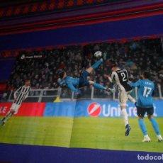 Coleccionismo deportivo: PÓSTER CHILENA CRISTIANO RONALDO REAL MADRID JUVENTUS. GRADA BLANCA ATLÉTICO DE MADRID. 8-4-18. BE.. Lote 145142457