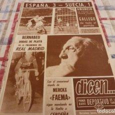 Coleccionismo deportivo: DICEN(29-2-68)ESPAÑA 3 SUECIA 1 ,SANTIAGO BERNABEU BODAS DE PLATA EN EL R.MADRID,EDDY MERCKX. Lote 118615823