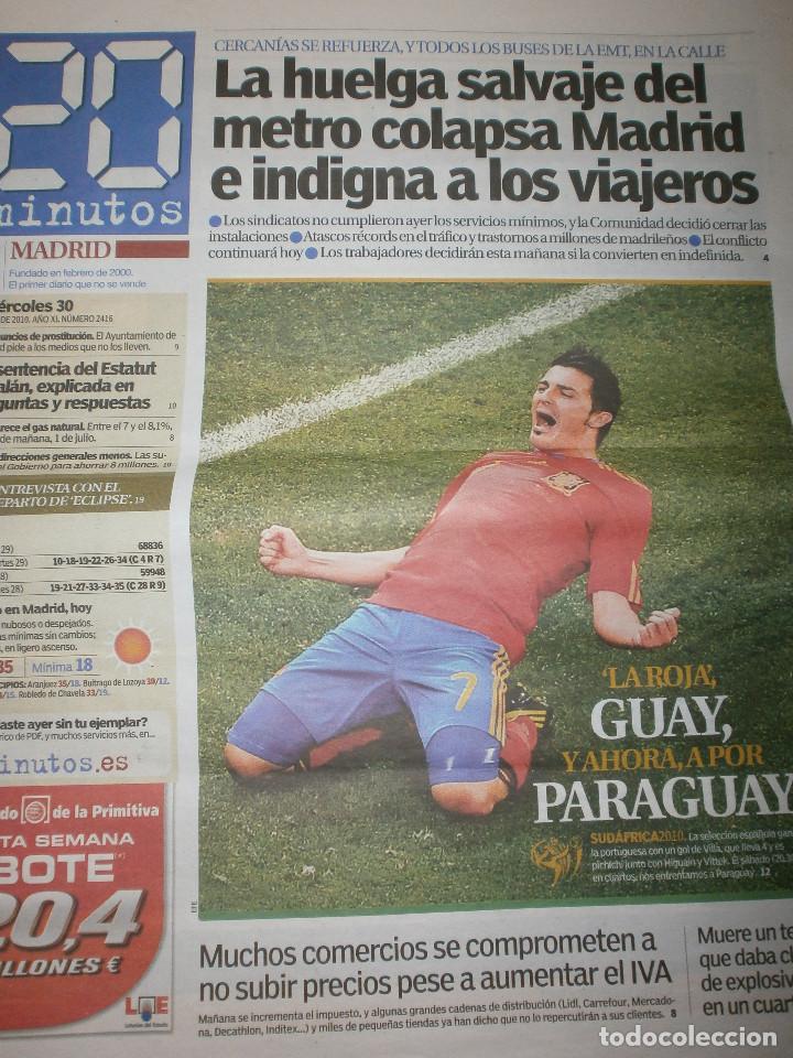 Coleccionismo deportivo: 4 periodicos 20 minutos España Campeona Mundial 2010 Cuartos de Final / Semifinal / Celebración - Foto 3 - 119859731