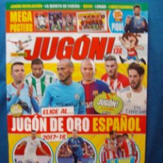 Coleccionismo deportivo: REVISTA JUGON Nº 136 MAYO 2018 POSTER CENTRAL SELECCION ESPAÑOLA MUNDIAL RUSIA CROMO STORY DE QUINI. Lote 119897479
