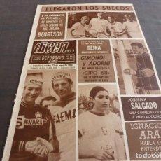 Coleccionismo deportivo: DICEN(21-5-68)REINA(BARÇA)JOSEFINA SALGADO,GIMONDI Y ADORNI,MONTSENY CARRERAS COCHES. Lote 120541807