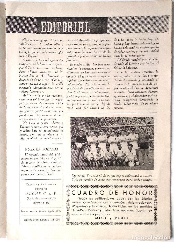 Coleccionismo deportivo: ELCHE C.F. - BOLETÍN INFORMATIVO Nº 6- 1 NOVIEMBRE 1959 - DELEGACIÓN DE PRENSA Y PROPAGANDA - Foto 2 - 121251539