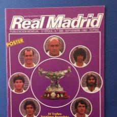 Coleccionismo deportivo: REVISTA REAL MADRID. Nº 388. CON PÓSTER DE LA PLANTILLA. SEPTIEMBRE 1982. Lote 122079283