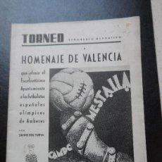 Coleccionismo deportivo: TORNEO SEMANARIO DEPORTIVO HOMENAJE DE VALENCIA FUTBOLISTAS OLIMPICOS AMBERES MESTALLA 1920 ORIGINAL. Lote 127752247