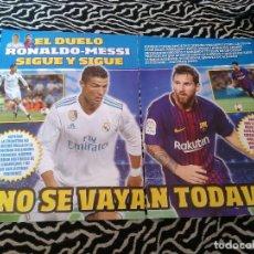 Coleccionismo deportivo: REPORTAJE 4 PÁG EL DUELO RONALDO-MESSI: CR7, CRISTIANO (REAL MADRID) Y MESSI (F.C. BARCELONA, BARÇA). Lote 129738223