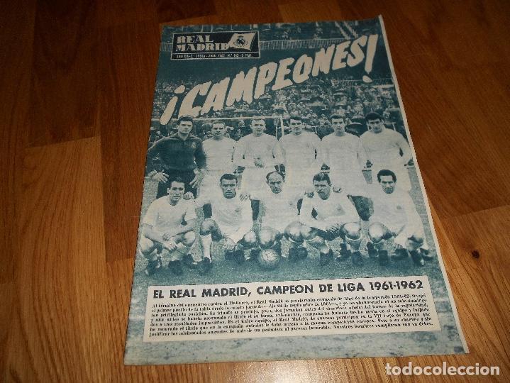BOLETIN REVISTA OFICIAL REAL MADRID Nº 143 CAMPEON LIGA 61/62-COPA EUROPA STANDARD LIEJA 1961/1962 (Coleccionismo Deportivo - Revistas y Periódicos - otros Fútbol)