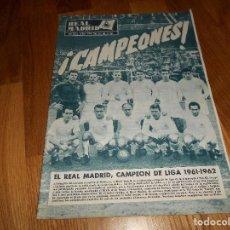 Coleccionismo deportivo: BOLETIN REVISTA OFICIAL REAL MADRID Nº 143 CAMPEON LIGA 61/62-COPA EUROPA STANDARD LIEJA 1961/1962. Lote 129748235
