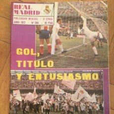 Coleccionismo deportivo: REVISTA REAL MADRID Nº 265 (JUNIO 1972) CAMPEONES LIGA 1971 1972. Lote 135197282