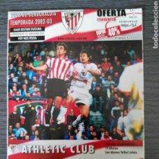 Coleccionismo deportivo: ATHLETIC CLUB-SEVILLA FC - PROGRAMA TEMP 2002/2003 - JORNADA 22 LIGA. Lote 136030112