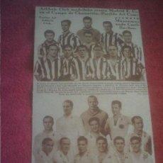 Coleccionismo deportivo: ATLETICO DE MADRID REAL MADRID ORIGINAL ALINEACIONES AÑOS 20. Lote 139354150