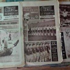 Coleccionismo deportivo: LOTE DE 5 PERIÓDICOS DICEN, ESPAÑA EN EL MUNDIAL LONDRES 66, VER FOTOS. Lote 140010622