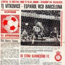 Coleccionismo deportivo: REVISTA VITKOVICE OSTRAVA - RCD ESPAÑOL (RCD ESPANYOL) - UEFA 1987-1988. Lote 141448050
