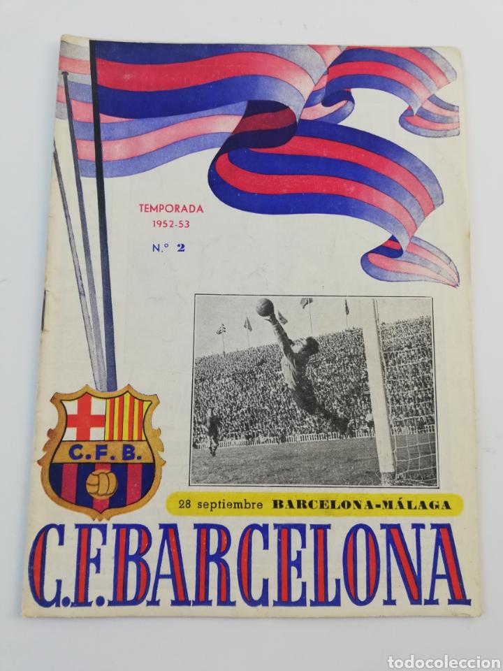 PROGRAMA OFICIAL FC BARCELONA MALAGA CD LIGA 1952-53 52-53 28 SEPTIEMBRE 1952 BARÇA FUTBOL NUMERO 2. (Coleccionismo Deportivo - Revistas y Periódicos - otros Fútbol)