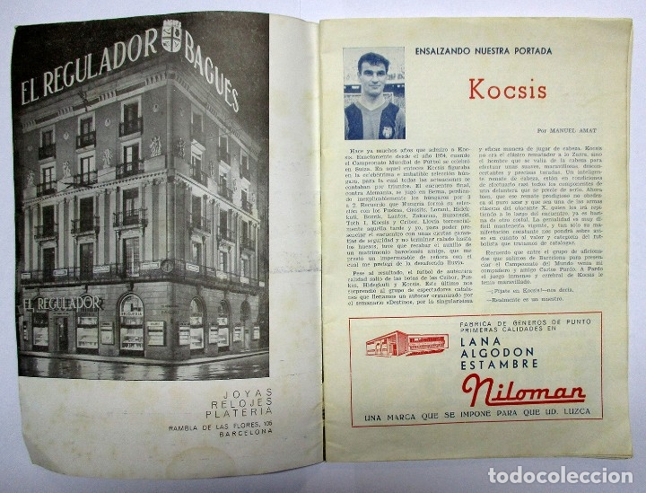 Coleccionismo deportivo: C.F. BARCELONA. REVISTA Nº 187 DE FECHA 30-12-1961 DEDICADA AL JUGADOR KOCSIS. LOTE 0001 - Foto 2 - 150065478