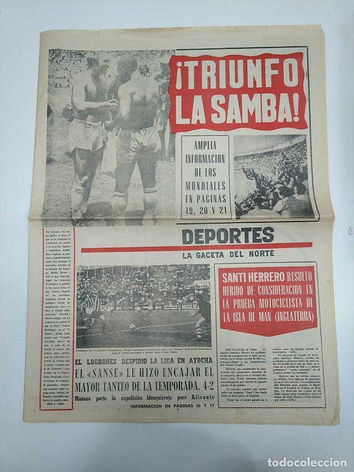 LA GACETA DEL NORTE. MUNDIAL 1970. 9 DE JUNIO DE 1970. SUPLEMENTO DE DEPORTES. TRIUNFO BRASIL TDKPR3 (Coleccionismo Deportivo - Revistas y Periódicos - otros Fútbol)