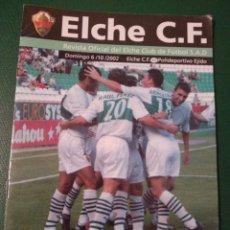 Coleccionismo deportivo: PROGRAMA REVISTA ELCHE CF - POLI EJIDO TEMP. 2002-2003. Lote 151849116