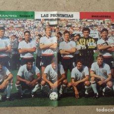 Coleccionismo deportivo: PÓSTER FÚTBOL INGLATERRA MUNDIAL ITALIA 90 - LAS PROVINCIAS AS MARCA DON BALÓN SPORT MUNDO DEPORTIVO. Lote 152924946