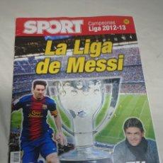 Coleccionismo deportivo: REVISTA SPORT FC BARCELONA CAMPEÓN DE LIGA 2012-2013 - LA LIGA DE MESSI. Lote 152975202