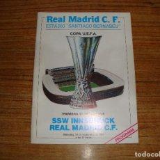 Colecionismo desportivo: (ALB-TC-71) PROGRAMA FUTBOL REAL MADRID PRIMERA ELIMINATORIA SSW INNSBRUCK REAL MADRID 1984. Lote 163605074