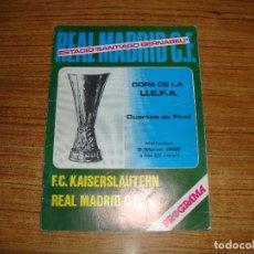 Colecionismo desportivo: (ALB-TC-71) PROGRAMA FUTBOL REAL MADRID CUARTOS DE FINAL F C KAISERSLAUTERN REAL MADRID 1982. Lote 163605190