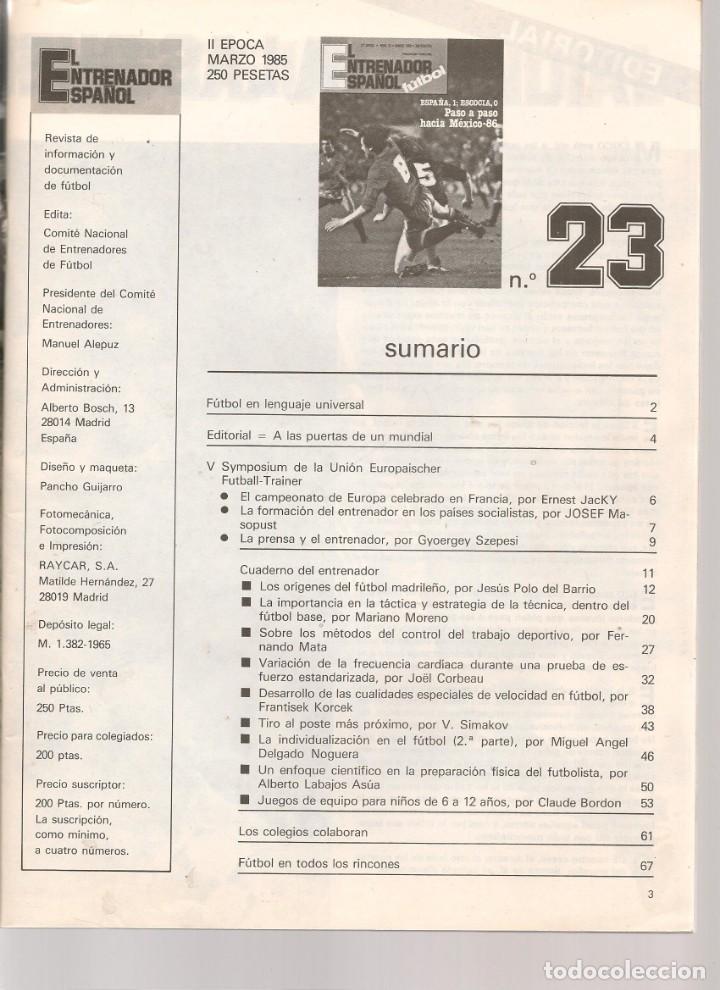 Coleccionismo deportivo: EL ENTRENADOR ESPAÑOL FUTBOL. Nº 23. MARZO 1985. (B/58) - Foto 2 - 163613874