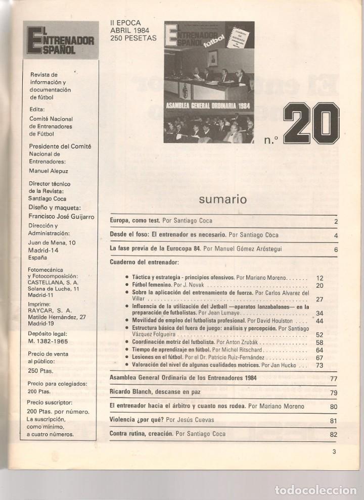 Coleccionismo deportivo: EL ENTRENADOR ESPAÑOL FUTBOL. Nº 20. ABRIL 1984. (B/58) - Foto 2 - 163614214
