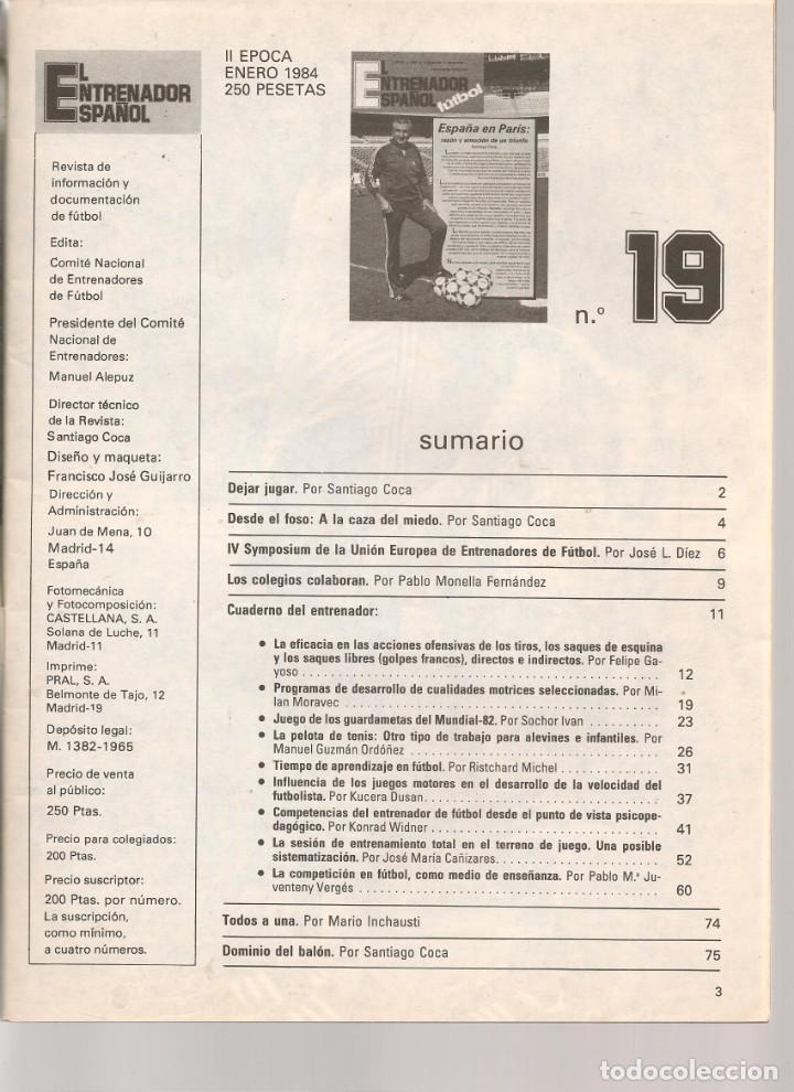 Coleccionismo deportivo: EL ENTRENADOR ESPAÑOL FUTBOL. Nº 19. ENERO 1984. (B/58) - Foto 2 - 163614310