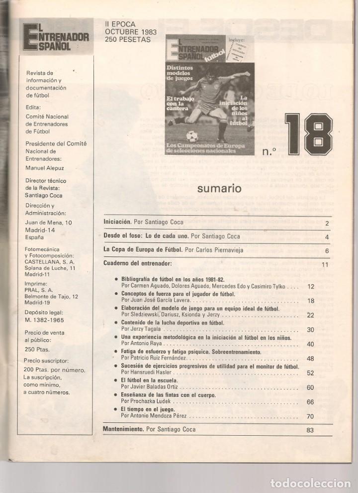 Coleccionismo deportivo: EL ENTRENADOR ESPAÑOL FUTBOL. Nº 18. OCTUBRE 1983.(B/58) - Foto 2 - 163614562