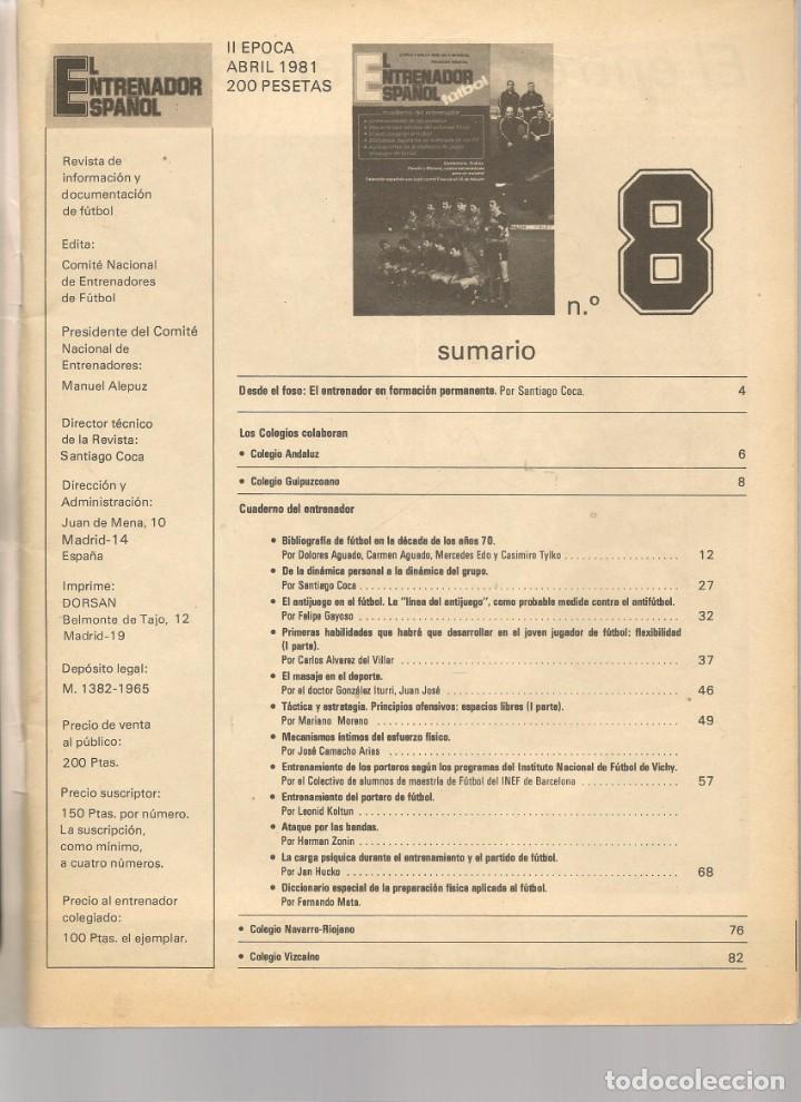 Coleccionismo deportivo: EL ENTRENADOR ESPAÑOL FUTBOL. Nº 8. ABRIL 1981. (B/58) - Foto 2 - 163616274