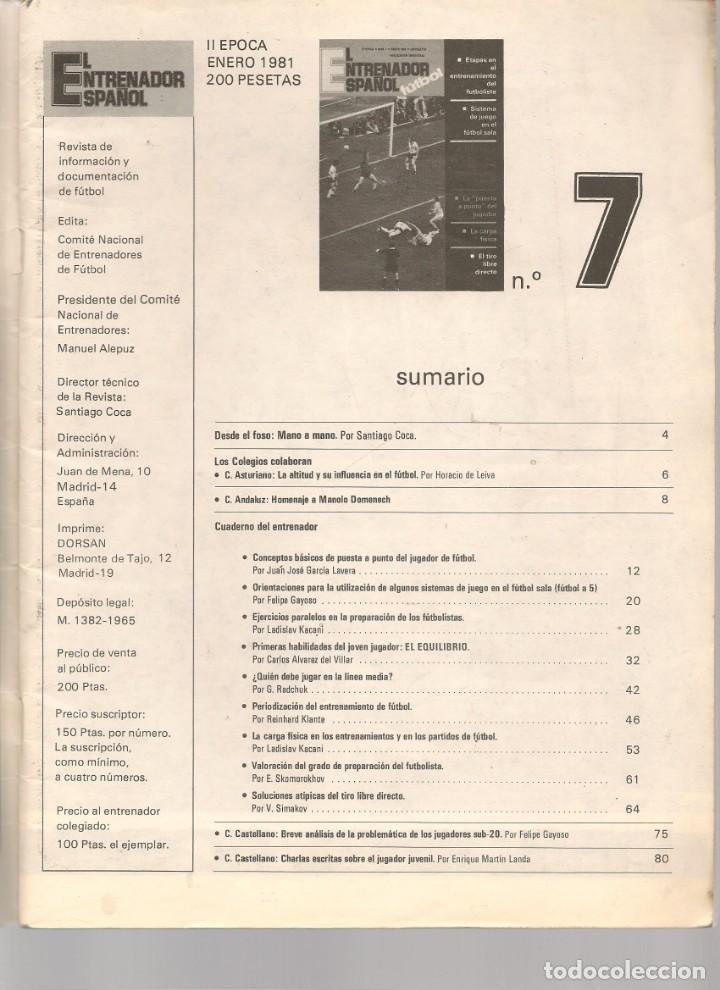Coleccionismo deportivo: EL ENTRENADOR ESPAÑOL FUTBOL. Nº 7. ENERO 1981. (B/58) - Foto 2 - 163616438