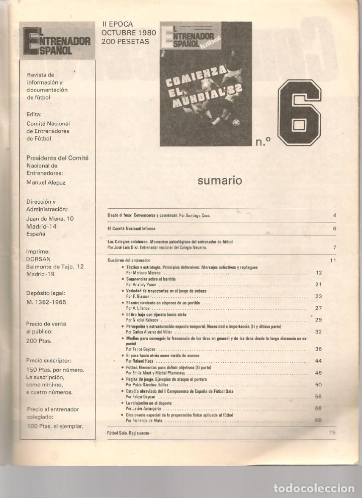 Coleccionismo deportivo: EL ENTRENADOR ESPAÑOL FUTBOL. Nº 6. OCTUBRE 1980. (B/58) - Foto 2 - 163616606