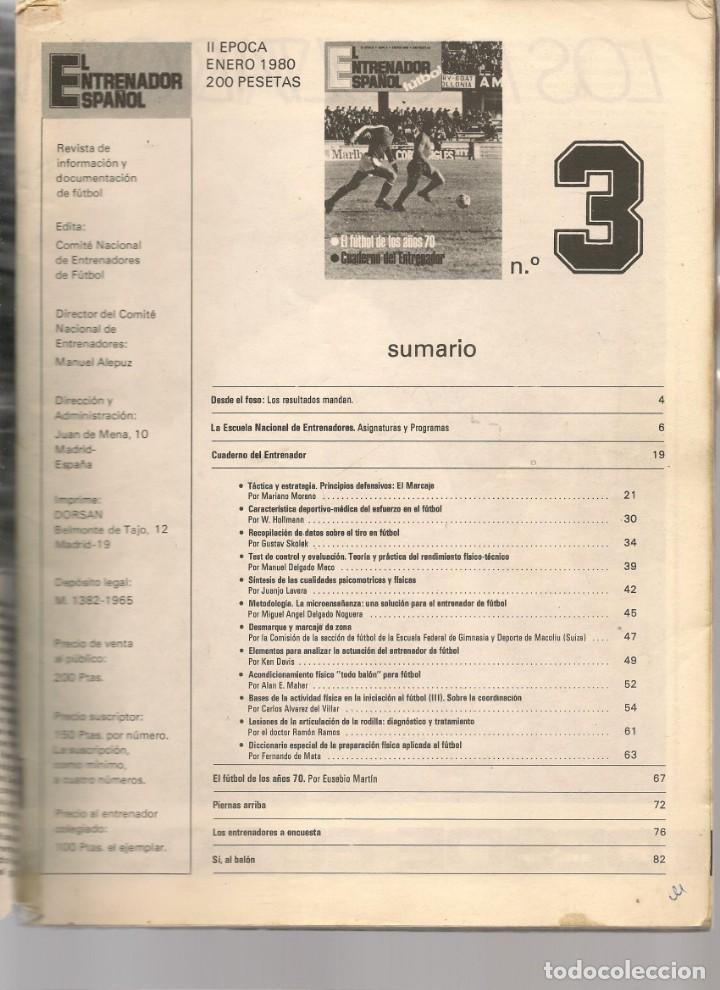 Coleccionismo deportivo: EL ENTRENADOR ESPAÑOL FUTBOL. Nº 3. ENERO 1980. (B/58) - Foto 2 - 163617454