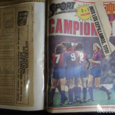 Coleccionismo deportivo: CARPETA CON RECORTES DE VARIOS PERIÓDICOS DEPORTIVOS FINAL DE COPA 1981 BARÇA-SPORTING, VER FOTOS. Lote 164716114