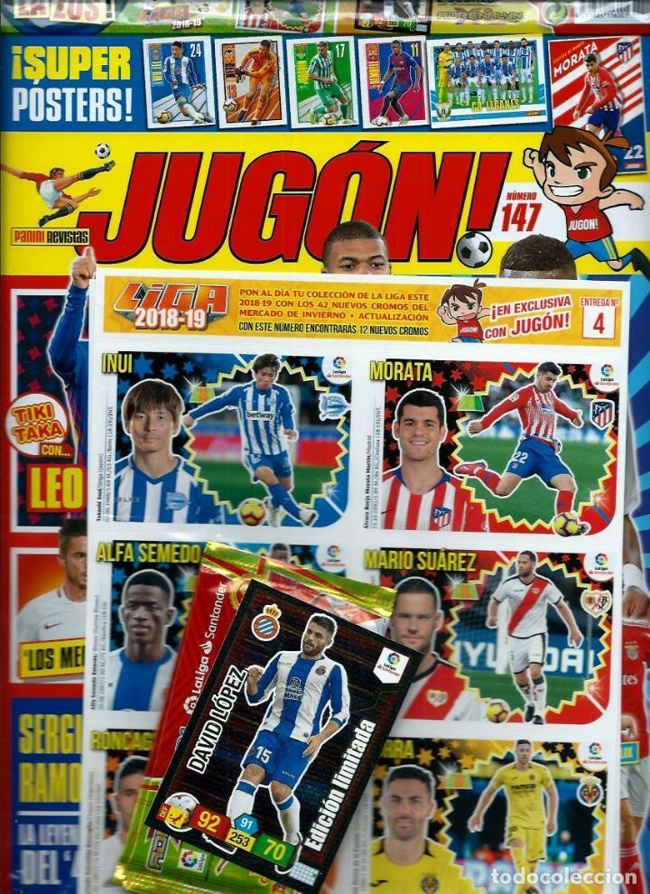 Coleccionismo deportivo: LOTE JUGON Nº 146, 147 Y 148 SIN DESPRECINTAR -CON MERCADO DE INVIERNO DE LIGA 2018-19 ESTE COMPLETA - Foto 3 - 164958830
