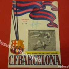 Coleccionismo deportivo: CF BARCELONA. PROGRAMA BARCELONA-SANTANDER. TEMPORADA 1952-53. Lote 168069796
