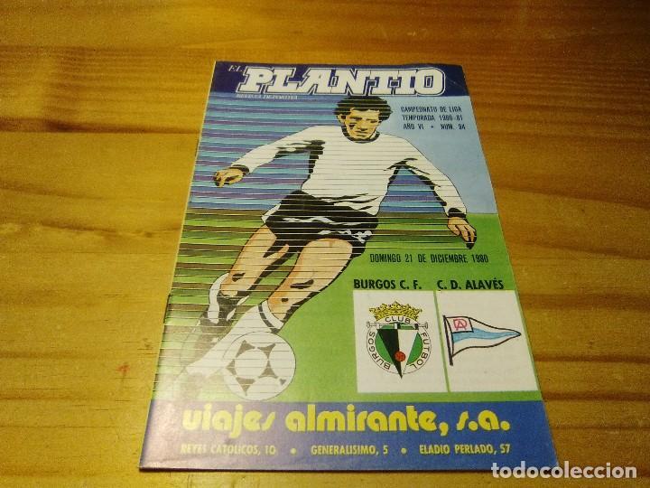 PROGRAMA REVISTA EL PLANTIO BURGOS CLUB FUTBOL-DEPORTIVO ALAVES TEMPORADA 1980-81 (Coleccionismo Deportivo - Revistas y Periódicos - otros Fútbol)