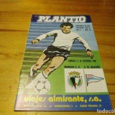 Collectionnisme sportif: PROGRAMA REVISTA EL PLANTIO BURGOS CLUB FUTBOL-DEPORTIVO ALAVES TEMPORADA 1980-81. Lote 168632480