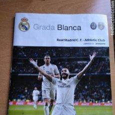 Coleccionismo deportivo: REAL MADRID - ATHLETIC CLUB PROGRAMA 21/04/2019 GRADA BLANCA PÓSTER ASENSIO. Lote 176471485
